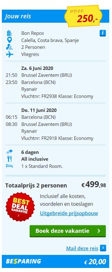 prijs vakantie Costa Brava