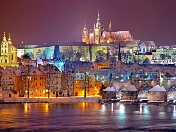 prague winter skyline